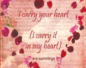 Poetic Love Card - I Carry Your Heart in my Heart, Rose Petal Heart, e. e. cummings Quote