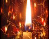 Candle Light Photo, Vintage Candle Collage, Burning Lights, Holiday Photo