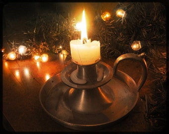 Vintage Candle Photograph, Pewter Candleholder, Holiday Lights, Christmas Photo