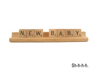New Baby Scrabble Card - S-h-h-h-h, New Baby Congratulations
