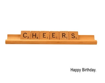 Happy Birthday Scrabble Card, Cheers, Scrabble Greeting Card, Birthday Card