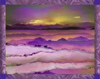 Purple Sunrise Print, Morning Landscape, Handmade Paper Art, Morning Sun Collage, Purple Wall Decor, Housewarming Gift