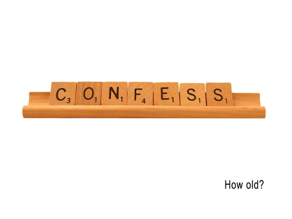 Scrabble Greeting Card, Confess - How Old, Scrabble letters