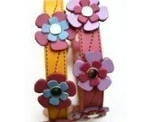 Cool Leather Dog Collar - Flowers in Yellow or Pink