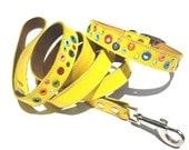 Loki Puppy Leather Dog Collar and Leash Set Yellow