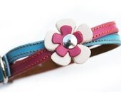 XL Swirl Leather Dog Collar in Hot Pink and Light Blue