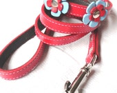 Delilah Red  Leather Dog Leash Lead