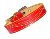 XXL Cool Leather Dog Collar - Red with Neon color stitchings