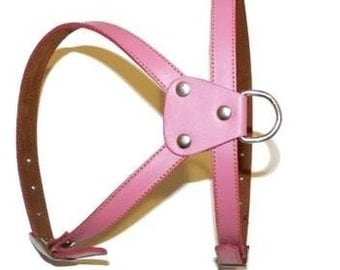Girly Pink Leather Dog Harness