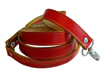 Cool Red Leather Dog Leash