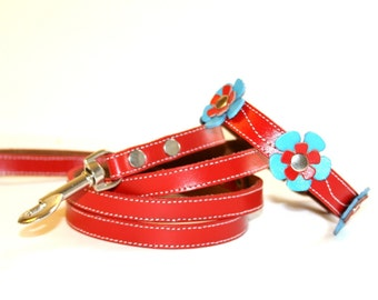 Delilah Leather Dog Collar and Leash Set  - Blue and Red Flowers