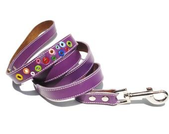 Loki Puppy Leather Dog Leash Purple