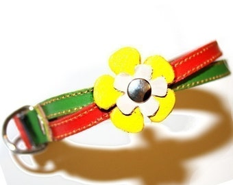 Cool Rasta Leather Dog Collar -  Red Green and Yellow Flowers