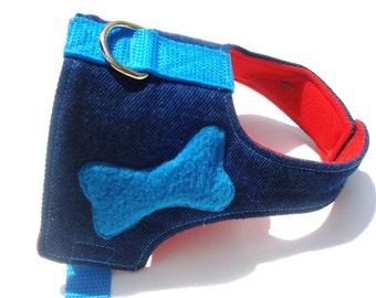 Cool  Dog Harness and Leash Set  Jean with Sky Blue Bone