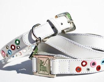 Loki Puppy Leather Dog Collar and Leash Set - Radiant White