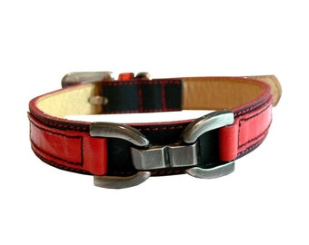 Bello - Cool Leather Dog Collar Black and Red