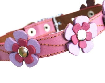 Pink Leather Dog Collar - Flowers