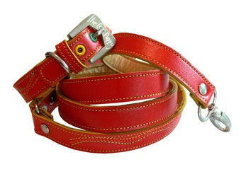 Cool Leather Dog Collar and Leash Set Red and Neon Colors