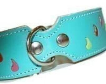 Tuff Love Leather Dog Collar - Turquoise