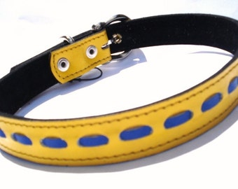 Cool Leather Dog Collar Yellow with Blue