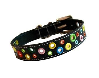 Loki Puppy Leather Dog Collar - Black
