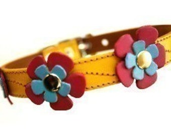 Leather Dog Collar - Yellow with Blue and Hot Pink Flowers