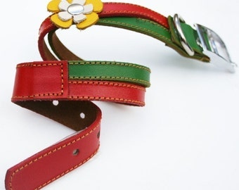 Swirls- XMAS Christmas Leather Dog Collar -  Red Green and Yellow Flowers