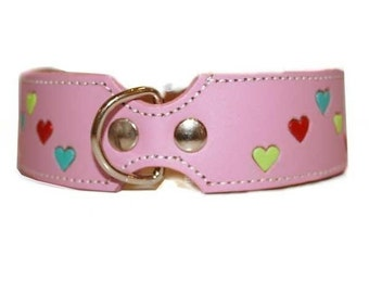 Tuff Love Leather Dog Collar  with Hearts - Pink