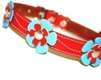 Cool Leather Dog Collar - Red with Light Blue and Red Flowers
