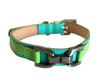 Bello - Cool Leather Dog Collar Turquoise with Lime