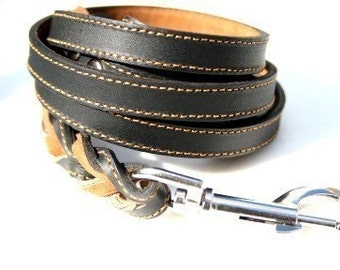 Durable Black Leather Dog Leash