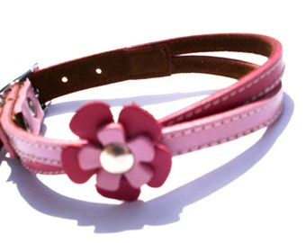 XXL Swirl Leather Dog Collar in Hot Pink and Soft Pink