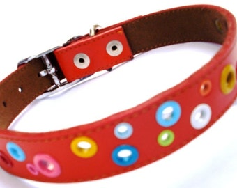 Leather Dog Collar - Loki Puppy RED