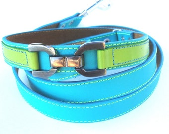Cool Leather Dog Leash Turquoise and Lime