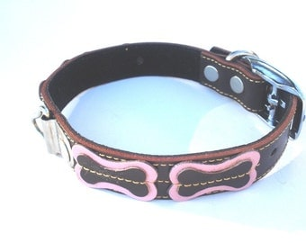 XL Cool Dog Collar Brown With Bones Pink