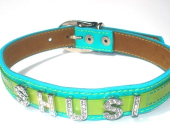 Bling Personalized Cool Leather Dog Collar- Your Pup's Name in Bling Letters