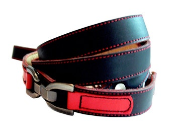 Cool Leather Dog Leash Lead Black and Red