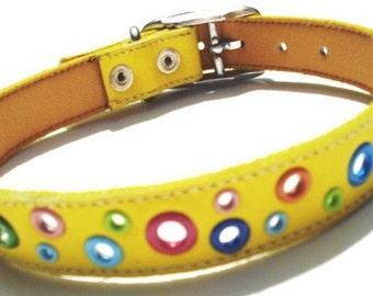 XXL Loki Puppy Leather Dog Collar - Yellow