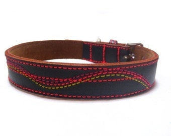 XXL Cool Leather Dog Collar - Black with Neon color stitchings