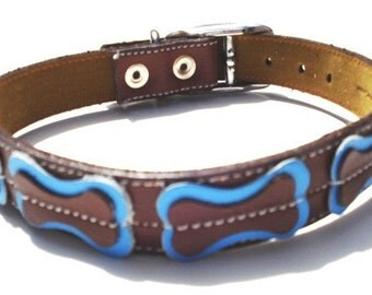 XXL Cool Leather Dog Collar - Brown with light blue bones