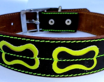 XL Cool Dog Collar Brown With Bones Yellow