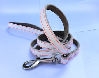 Cool White Leather Dog Leash
