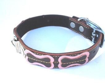 XXXL Cool Dog Collar Brown With Bones Pink