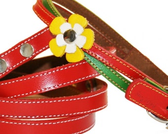 Christmas XMAS Leather Dog Collar and Leash Set  - Red and Green