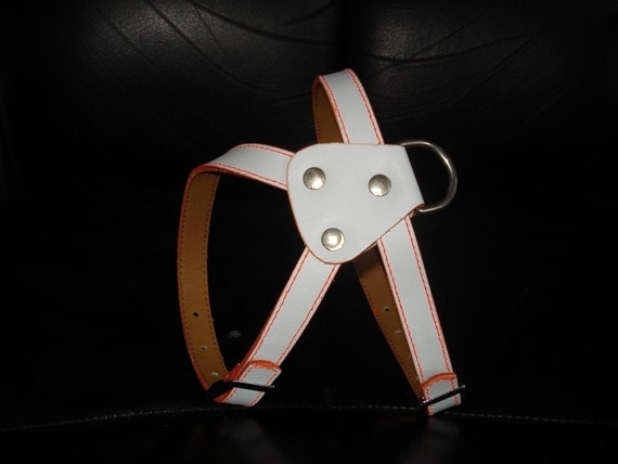 Cool White Leather Dog Harness