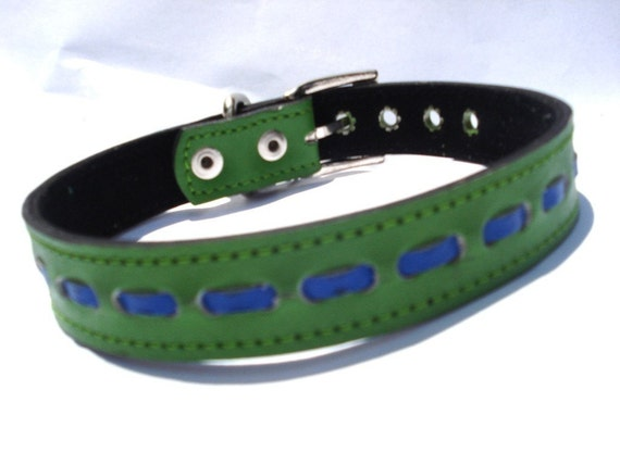Cool Leather Dog Collar Green with Blue