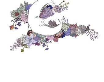 Moon, flowers 8x10 print