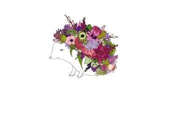 Pink Hedgehog, flowers. 8x10 print