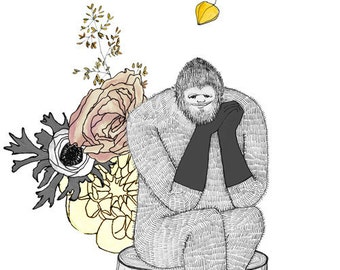Bigfoot, flowers and gloves, 5x7 print