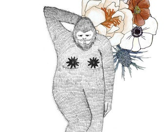 Bigfoot, flowers and pasties, 5x7 print